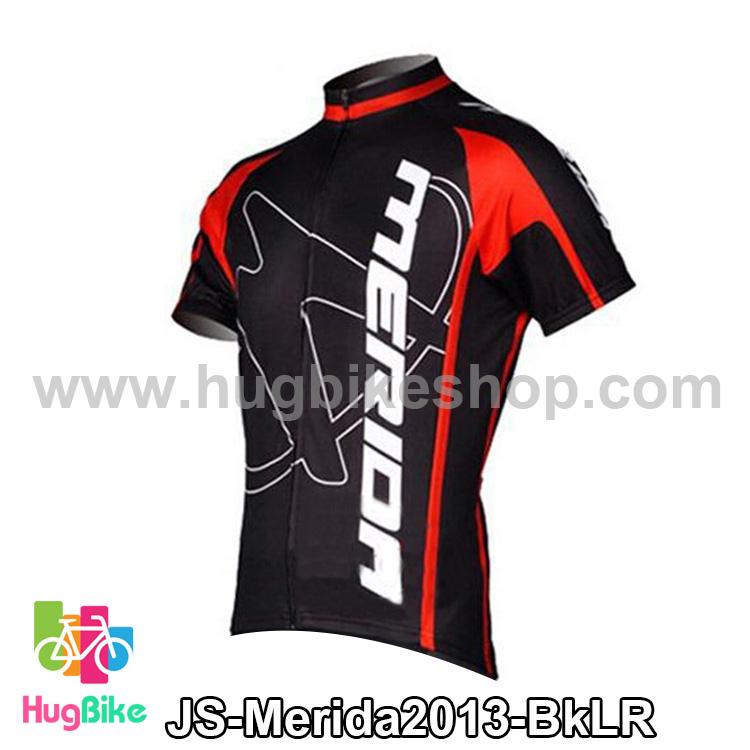 เสื้อจักรยานแขนสั้นทีม Merida 2013 สีดำขีดแดง สั่งจอง (Pre-order)