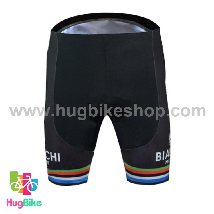 กางเกงจักรยานขาสั้นทีม Bianchi 16 (05) สีดำเขียว