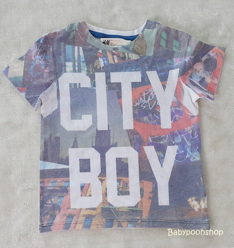 H&M : เสื้อยืด สกรีนลาย CITY BOY ( งานช้อป) size : 1.5-2y