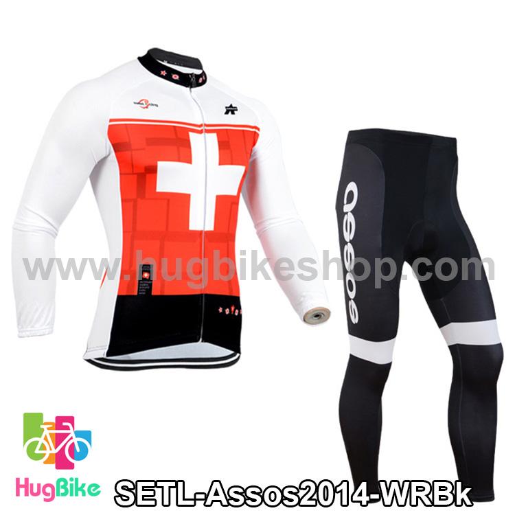 ชุดจักรยานแขนยาวทีม Assos 14 สีขาวแดง