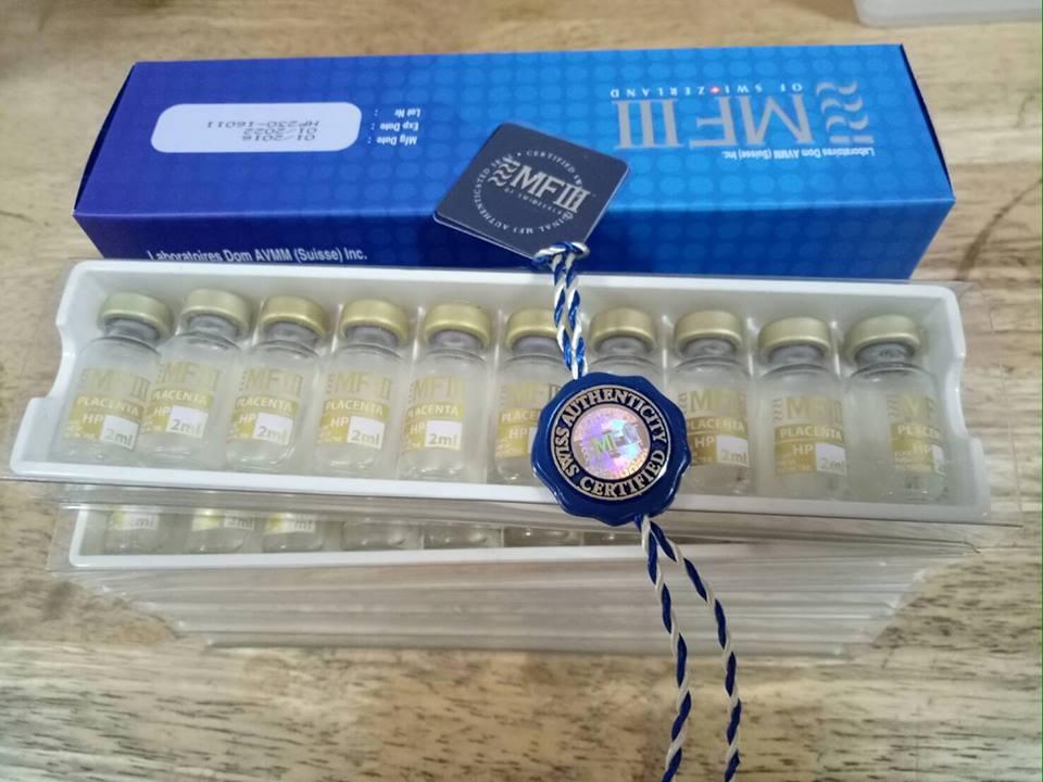 MF3/ MFIII/ MF PLUS HP จากประเทศสวิสเซอร์แลนด์ มีส่วนประกอบของ Placenta ที่เข้มข้นถึง 50vials x 2ml (230 mg)