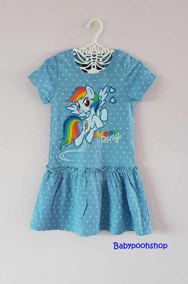 Pony : เดรสผ้า cotton ยีด ลายม้าโพนี่ Rainbow Dash สีฟ้าจุด size : 1-2y / 6-8y