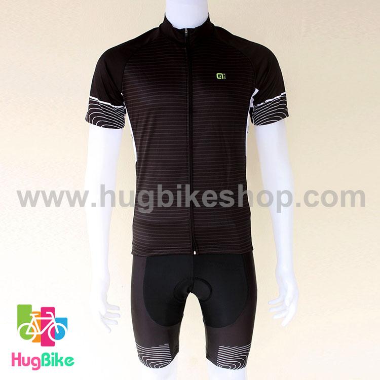 ชุดจักรยานแขนสั้นทีม Ale 16 (03) สีดำ