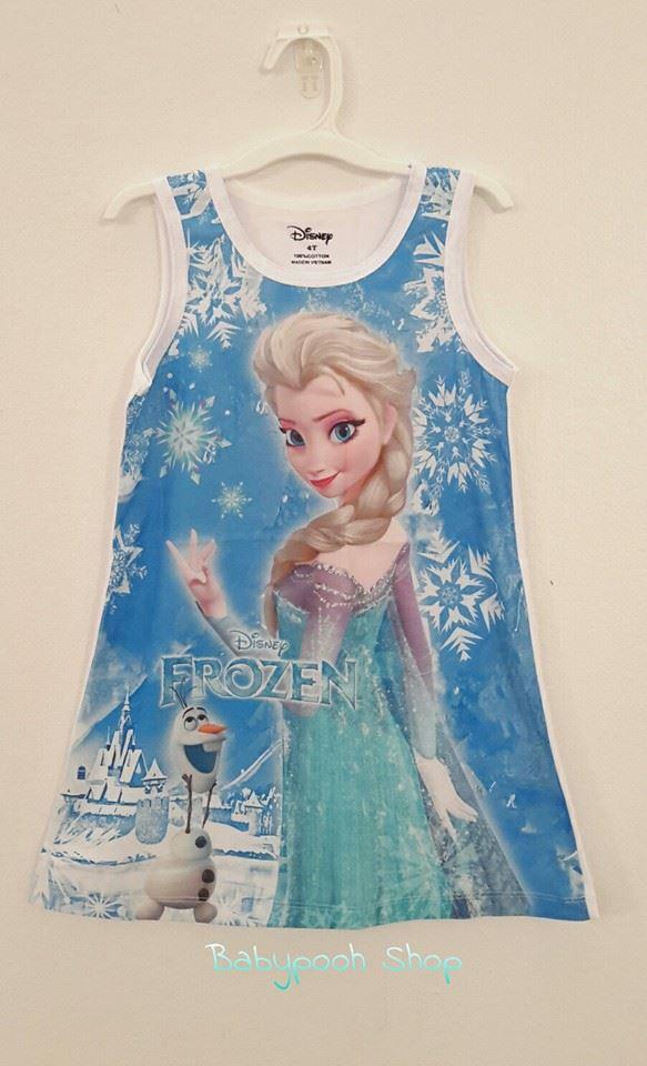 Disney : เดรสแขนกุด สีฟ้า พิมพ์ลาย Frozen เนื้อผ้ากึ่งมัน ยืด สวยค่ะ Size 11T
