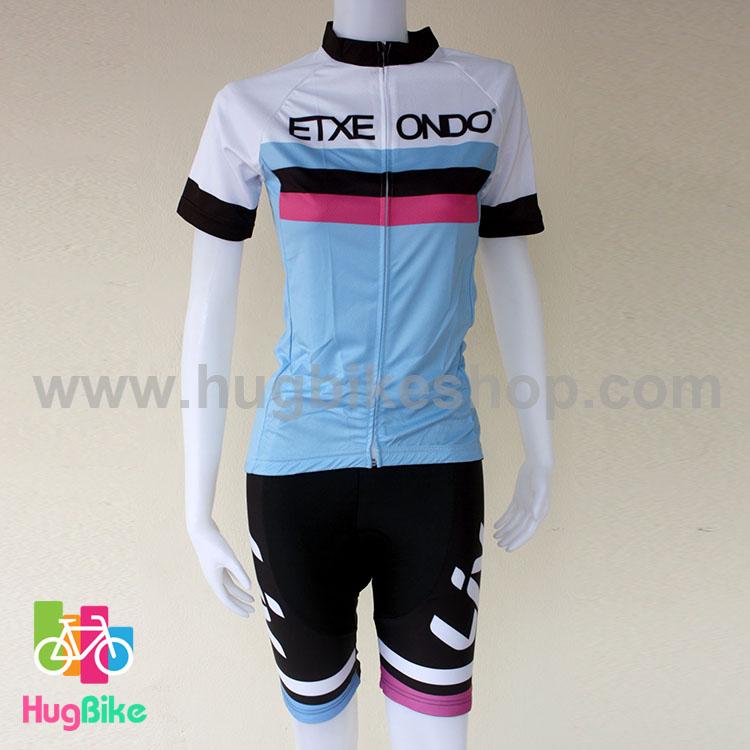 ชุดจักรยานผู้หญิงแขนสั้นขาสั้น Liv 16 (03) ETXEONDO สีขาวฟ้าลายดำชมพู สั่งจอง (Pre-order)