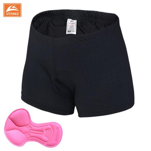 กางเกงจักรยาน Boxer VeoBike กางเกงสีดำ เป้าเจลสีชมพู เป้าสำหรับผู้หญิง