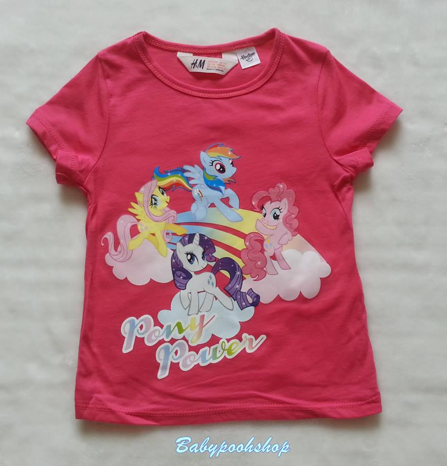 H&M : เสื้อยืด สกรีนลาย ม้าโพนี สีชมพูเข้ม (งานช้อป) size 6-8y
