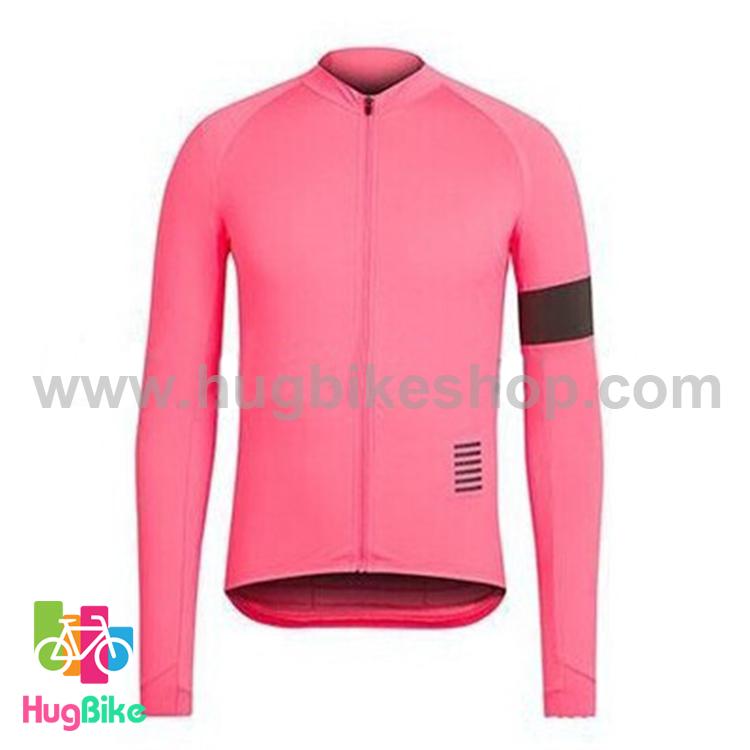 เสื้อจักรยานแขนยาวทีม Rapha 16 (07) สีชมพูปลอกแขนดำ