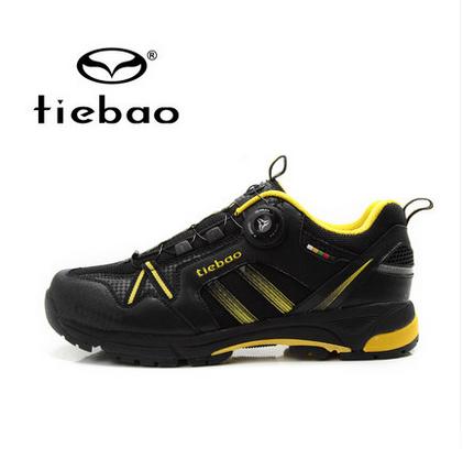 รองเท้าจักรยานเสือภูเขาแบบผ้าใบ TIEBAO รุ่น TB22-B1335 สีดำเหลือง สายสลิงหัวบิดรัดสายออโต้
