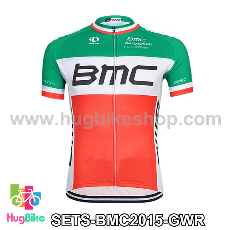 เสื้อจักรยานแขนสั้นทีม BMC 2015 สีเขียวขาวแดง สั่งจอง (Pre-order)