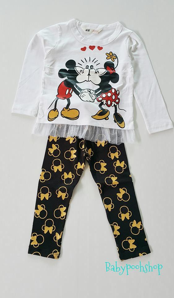 เซ็ต มิกกี้ มินนี่ สีขาว กางเกงสีดำทอง size 4-6