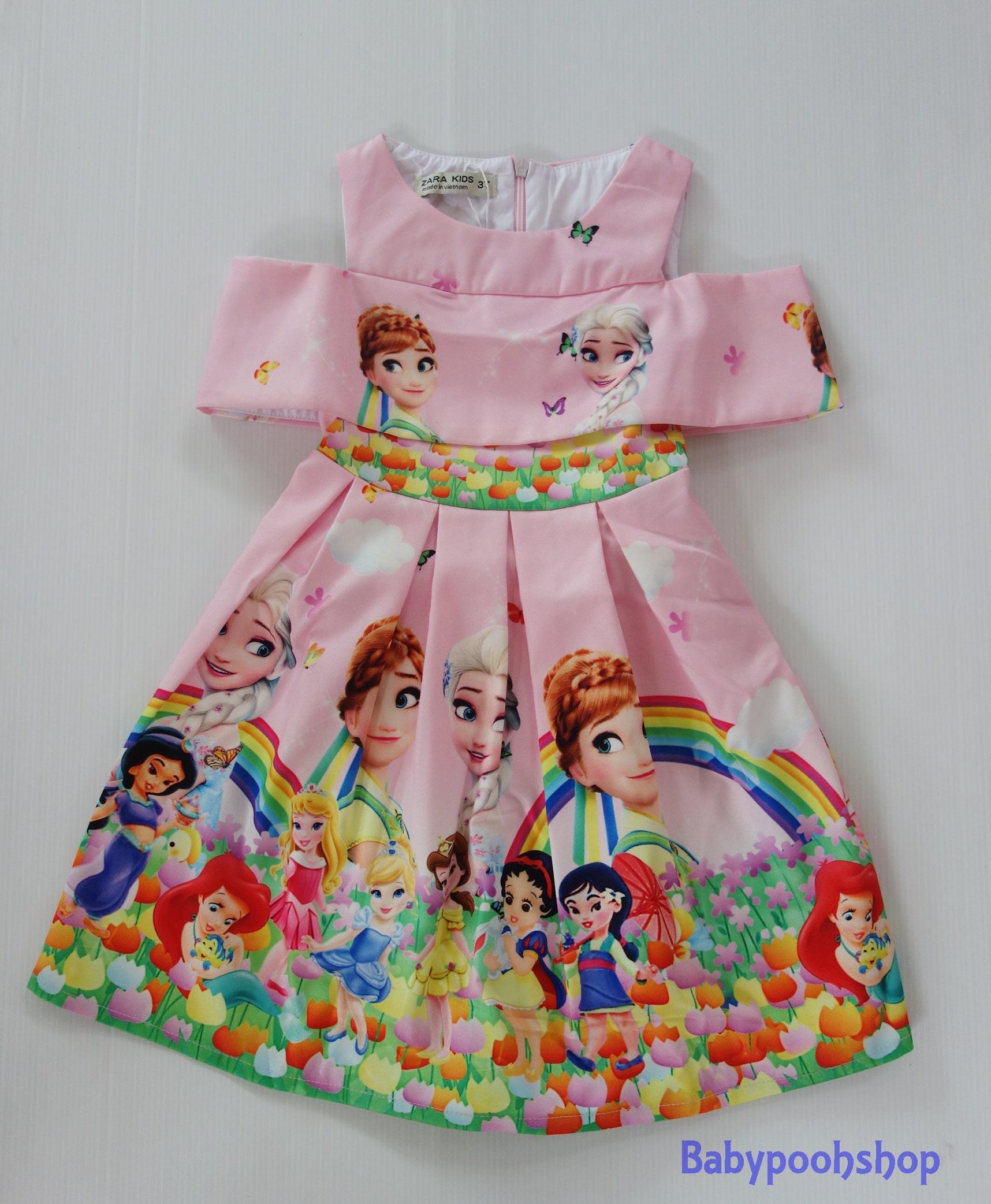 ZARA Kids : ชุดเดรสพิมพ์ลายเจ้าหญิง สีชมพูหวาน size : 3T (1-2y) / 5T (3-4y) / 6T (4-6y) / 7T (6-8y) / 9T (8-10y) / 11T (11y) / 12T (12-13y) / 13T ( 14y)