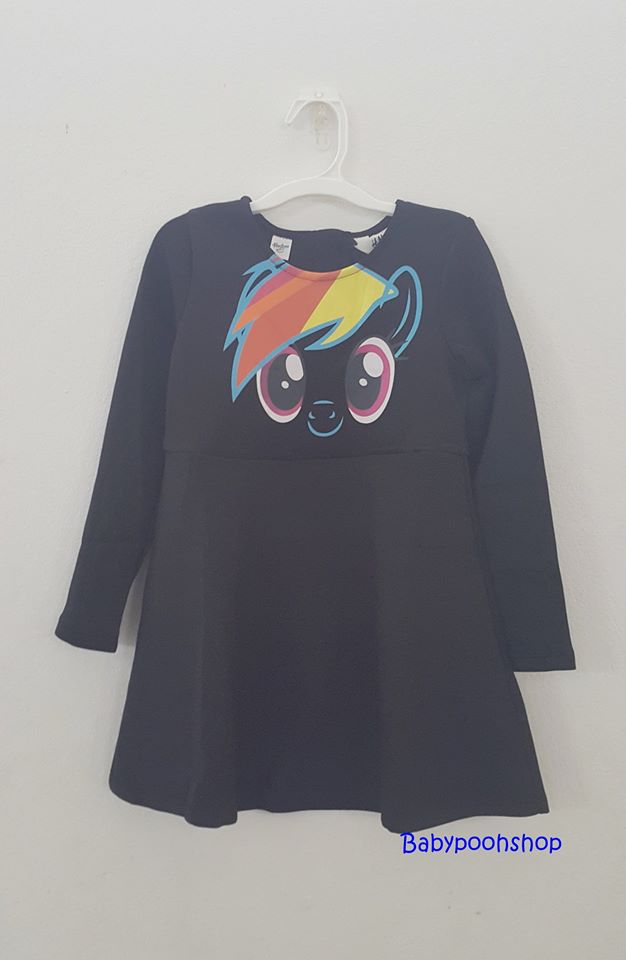 HM : ชุดเดรสแขนยาวลายม้าโพนี่ Rainbow Dash สีดำ size : 1.5-2y / 8-10y