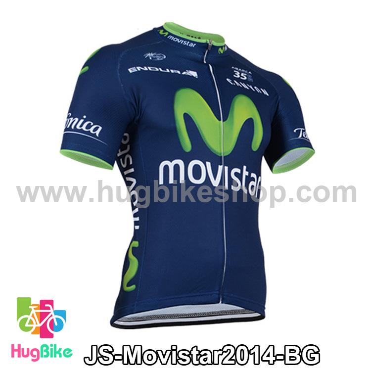 เสื้อจักรยานแขนสั้นทีม Movistar 2014 สีน้ำเงินเขียว สั่งจอง (Pre-order)