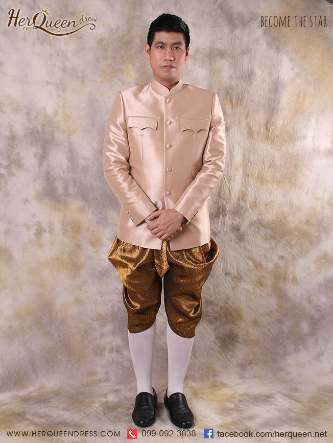 ชุดออกงานผู้ชาย &#x2666 ชุดไทยผู้ชาย เสื้อพระราชทาน กระเป๋าปีกค้างคาว โจงกระเบนสีทอง