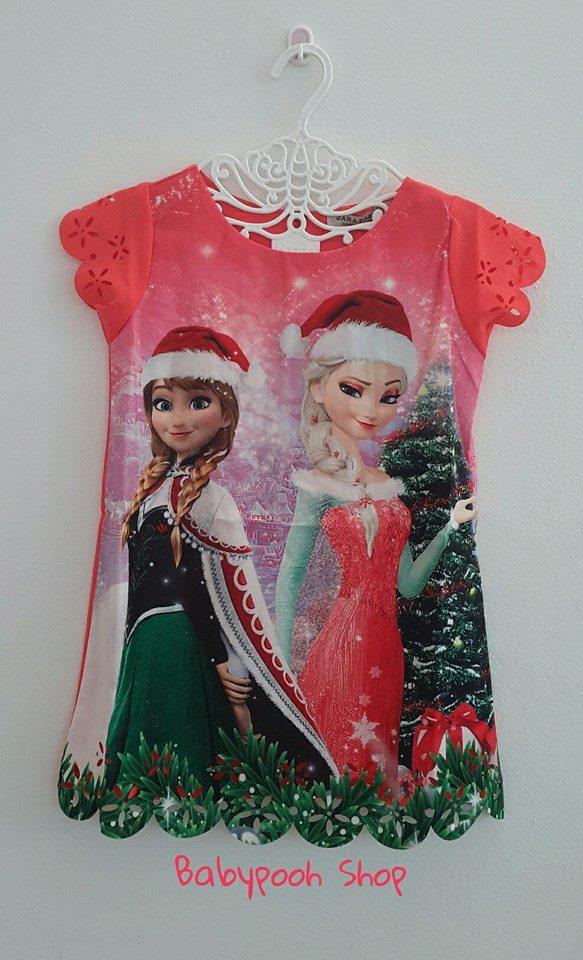 ZARA Basic : เดรสพิมพ์ลาย เจ้าหญิงเอลซ่า แอนนา คริสมาสต์ สีส้มออกแดง