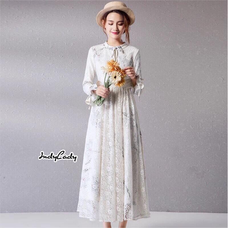 Maxi Dress ลูกไม้ สีขาว