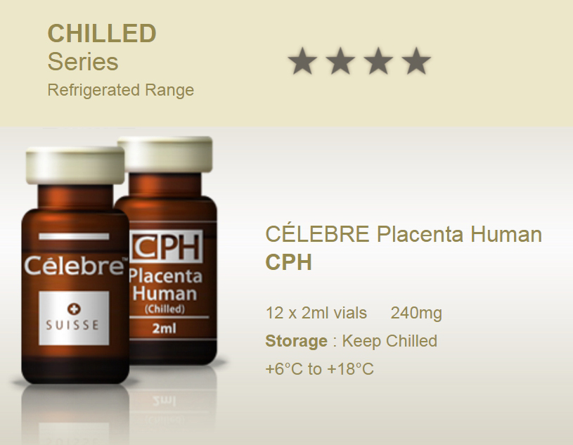 Celebre (CPH) Placenta Human S 12x 2ml vials 240mg Human Placenta-Hormone balance, improve sleep, skin elasticity, hair strength and thickness