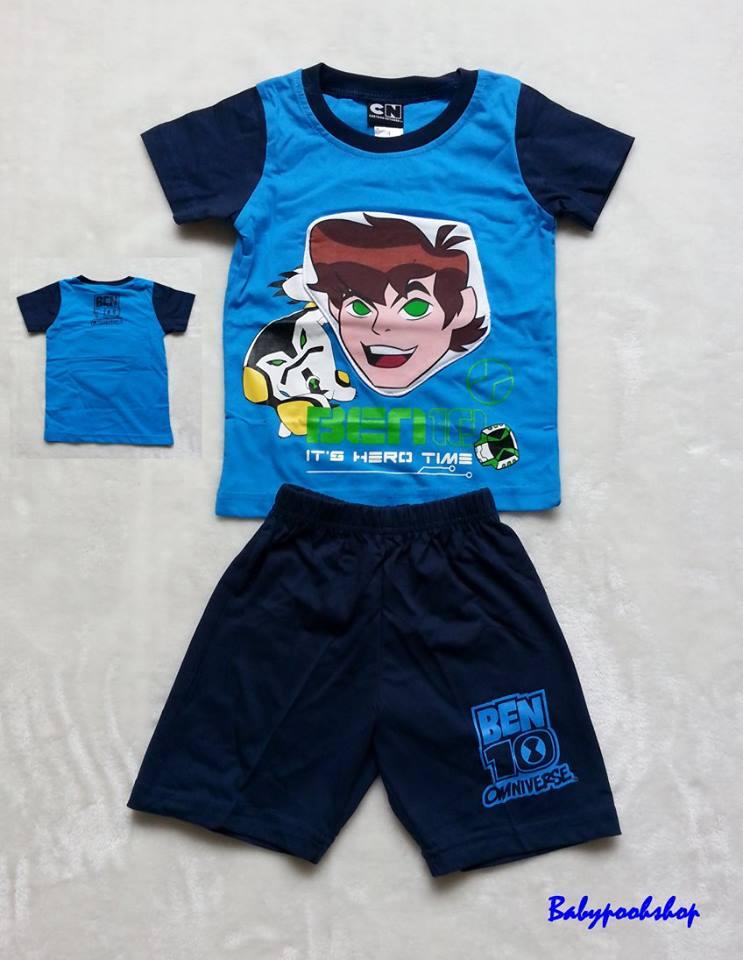 CN : set เสื้อ + กางเกง Ben 10 (ตรงรูปหน้า มีช่องใส่ของ) Size : 1 (2-3y)