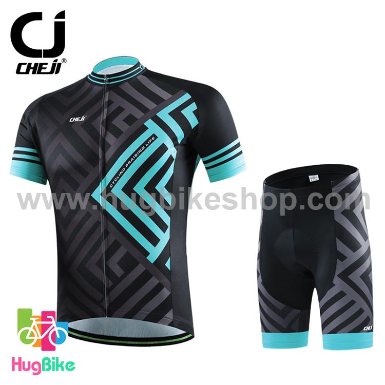 ชุดจักรยานแขนสั้น CheJi 16 (01) สีดำลายเทาฟ้า