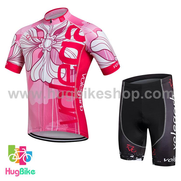 ชุดจักรยานแขนสั้น Volegarb 16 (15) สีชมพูลายดอก