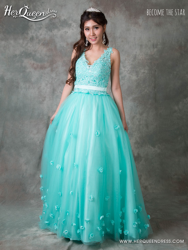 &#x2665 ชุดราตรียาว เจ้าหญิงคอวี กระโปรงรูด ชายดอกไม้สะพรั่ง-สีฟ้ามิ้นท์