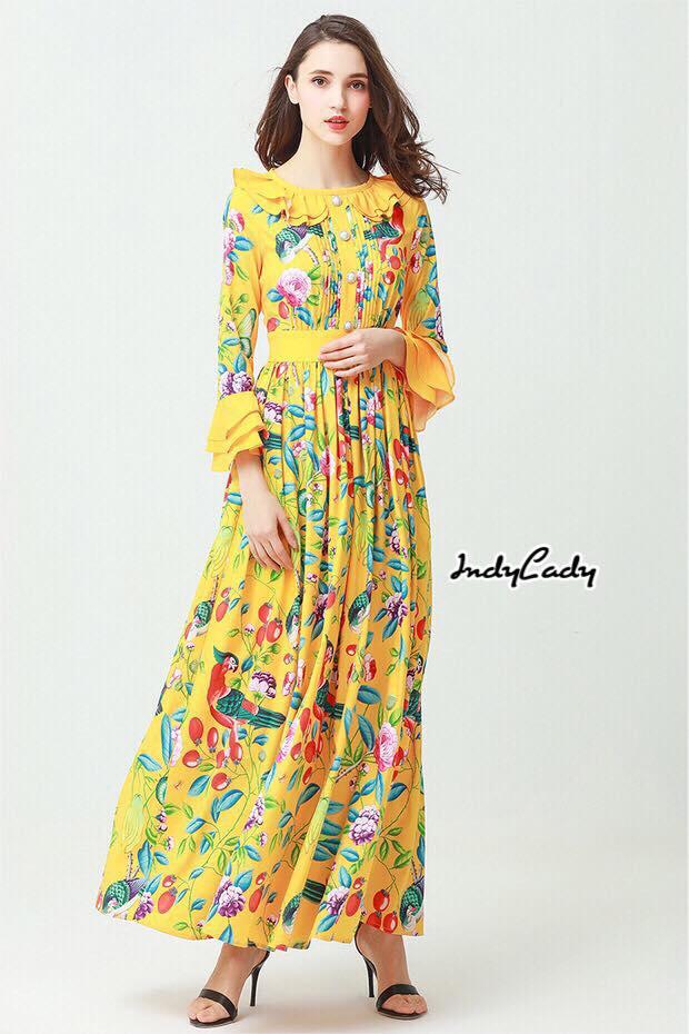 Maxi Dress แขนยาว ทรงสวยคอระบาย