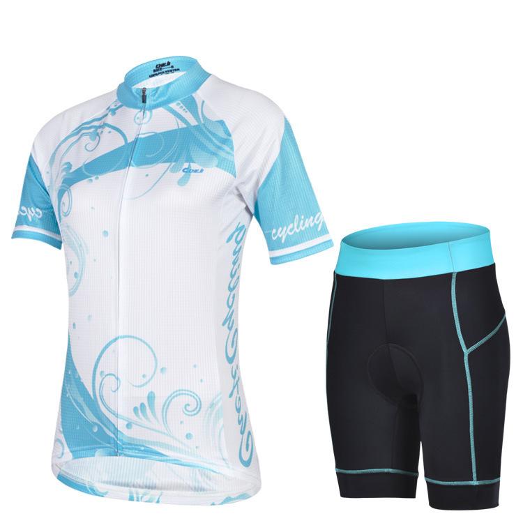 ชุดจักรยานผู้หญิงแขนสั้นขาสั้น CheJi 14 (05) สีขาวฟ้า สั่งจอง (Pre-order)