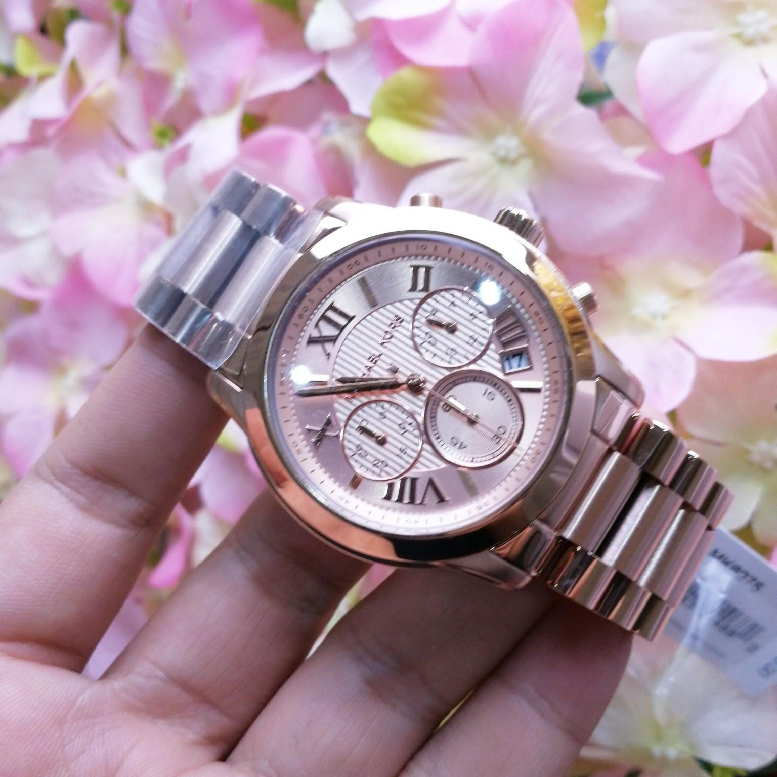 Michael Kors Cooper Chronograph Rose Dial Rose Gold-tone Ladies MK6275