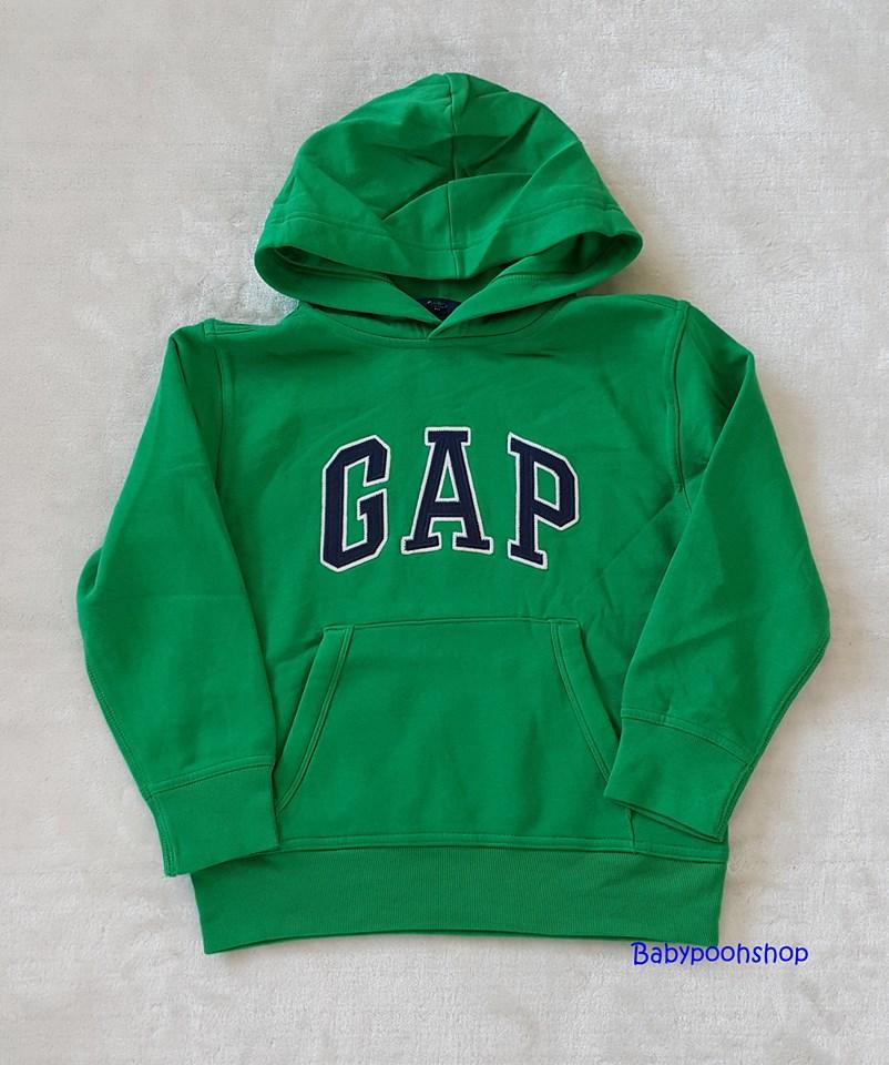 Gap : เสื้อกันหนาวแบบสวม ปักโลโก้ Gap สีเขียว ข้างในบุผ้าสำลี size : S (6-7y) / M (8-9y)