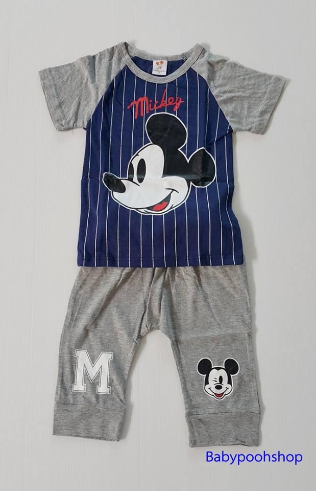 set เสื้อ+กางเกง มิกกี้เมาส์ สีเทา size 120 /130