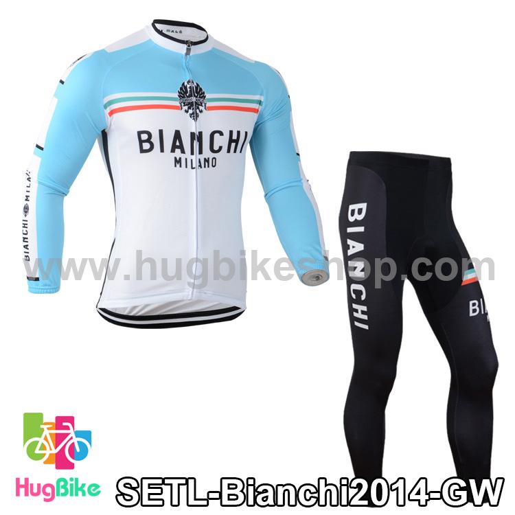 ชุดจักรยานแขนยาวทีม Bianchi 14 (01) สีเขียวขาว
