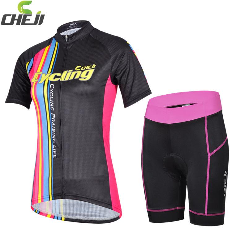 ชุดจักรยานผู้หญิงแขนสั้นขาสั้น CheJi 14 (12) สีดำลายขีดชมพูฟ้าเหลือง สั่งจอง (Pre-order)