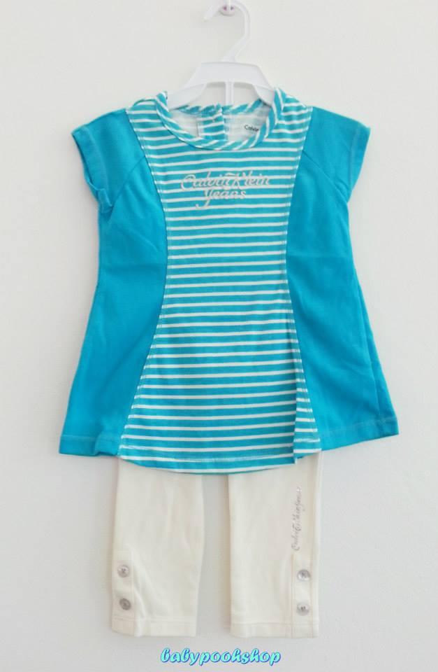 Calvin Klien : เสื้อยืดสีฟ้าลายขวางมาพร้อมเลคกิ้งสีขาว Size : 18m / 24m