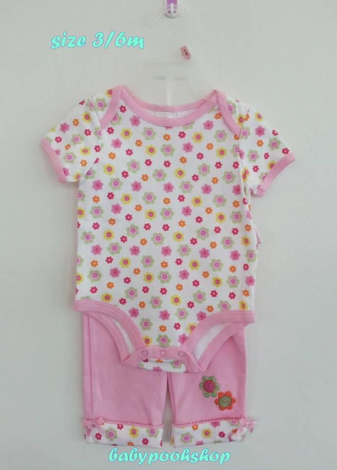 Petite Bear : ชุดเซ็ท บอดี้สูทลายดอกไม้ พร้อมกางเกงเข้าชุด