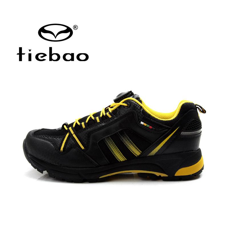 รองเท้าจักรยานเสือภูเขาแบบผ้าใบ TIEBAO รุ่น TB22-B1334 สีดำเหลือง สายเชือกหัวบิดรัดสายออโต้