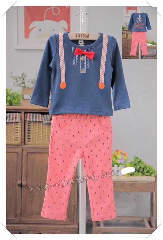 เซ็ท เสื้อแขนยาวติดหูกระต่ายสีน้ำเงิน+กางเกงสีชมพู