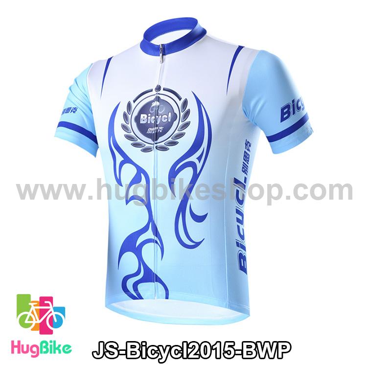 เสื้อจักรยานแขนสั้นทีม Bicycl 2015 สีฟ้าขาวลายน้ำเงิน สั่งจอง (Pre-order)