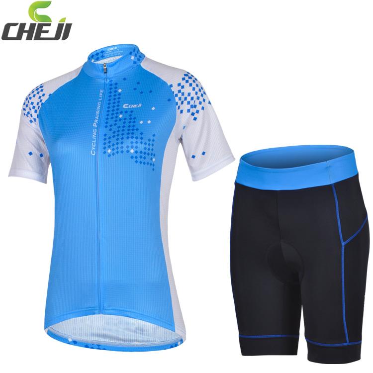 ชุดจักรยานผู้หญิงแขนสั้นขาสั้น CheJi 14 (01) สีฟ้าขาว สั่งจอง (Pre-order)