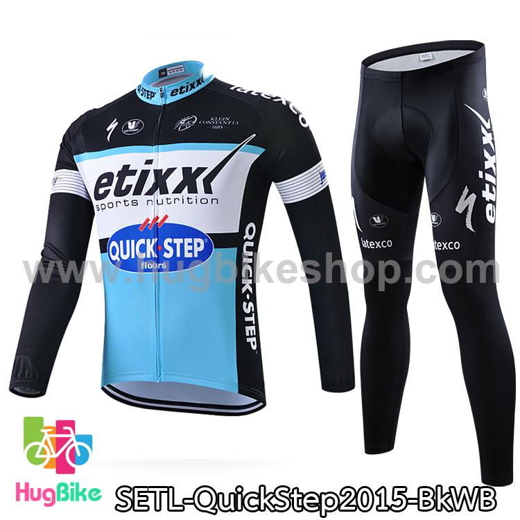 ชุดจักรยานแขนยาวทีม Quick Step 15 สีดำขาวฟ้า สั่งจอง (Pre-order)