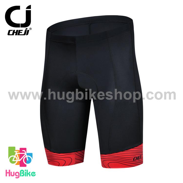 กางเกงจักรยานขาสั้น CheJi สีดำ ขอบแดง