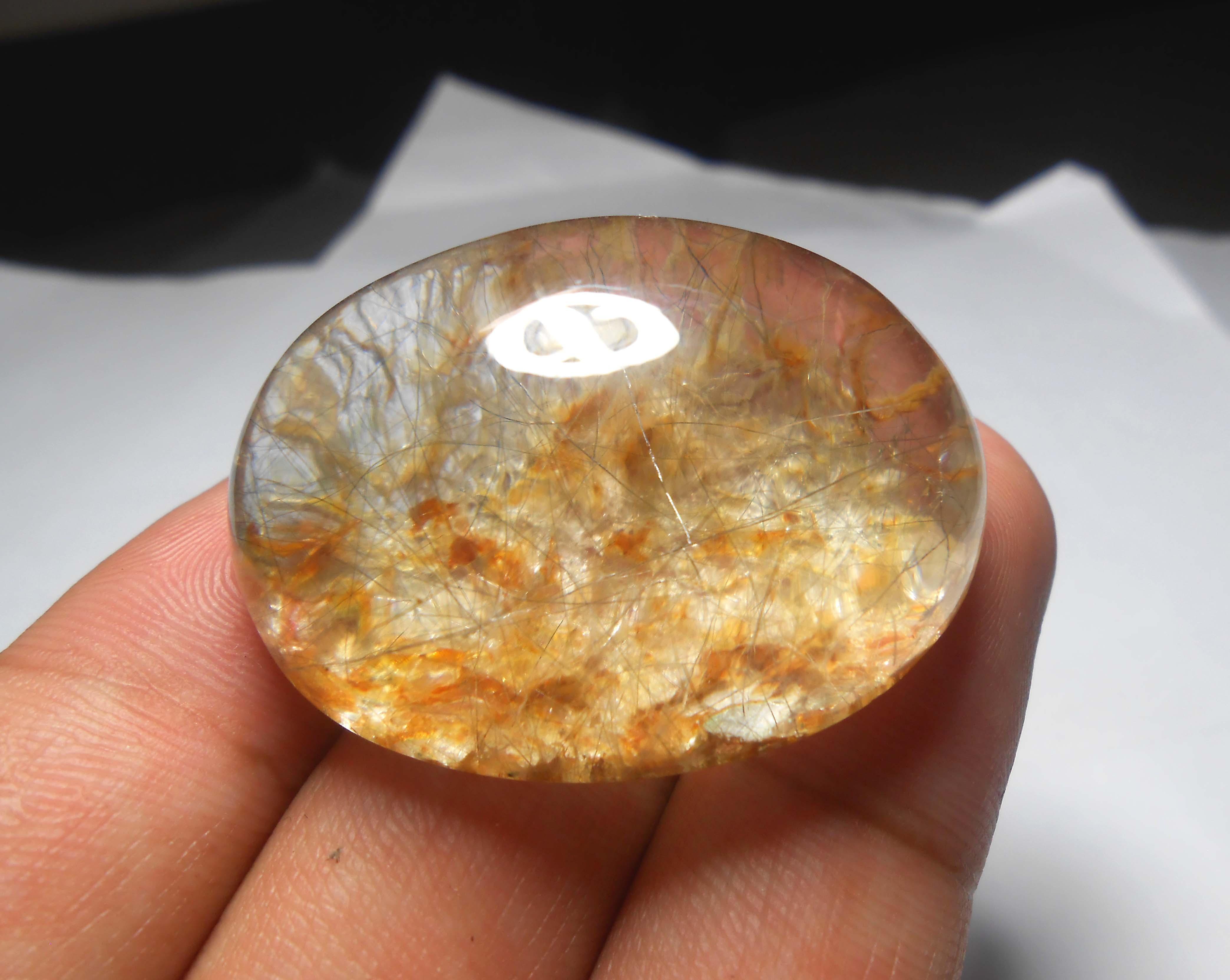 เม็ดโต แก้วขนเหล็กใส+กาบทอง น้ำงาม เม็ดโต เส้นสวย ขนาด 4* 3ขนาดสะสม หรือทำกำไล