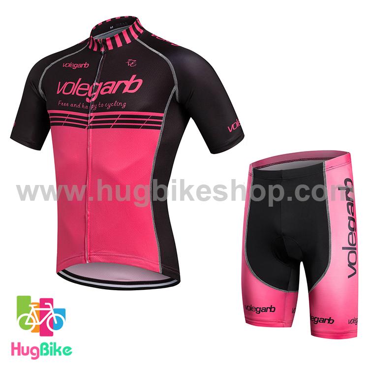ชุดจักรยานแขนสั้น Volegarb 16 (13) สีดำชมพูบานเย็น
