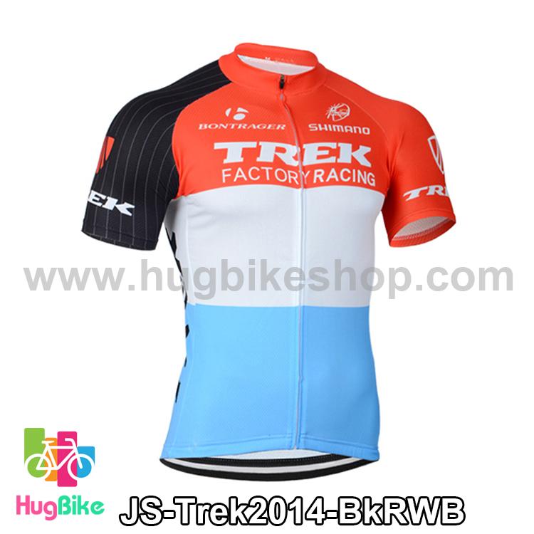 เสื้อจักรยานแขนสั้นทีม Trek 14 สีดำแดงขาวฟ้า สั่งจอง (Pre-order)