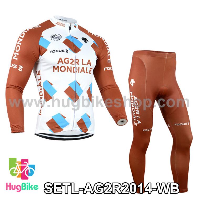 ชุดจักรยานแขนยาวทีม AG2RLA Mondiale 14 (01) สีขาวน้ำตาล