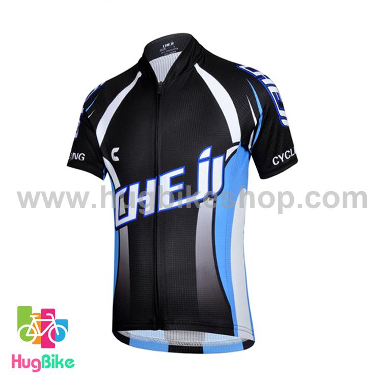 เสื้อจักรยานเด็กแขนสั้น CheJi สีดำฟ้า