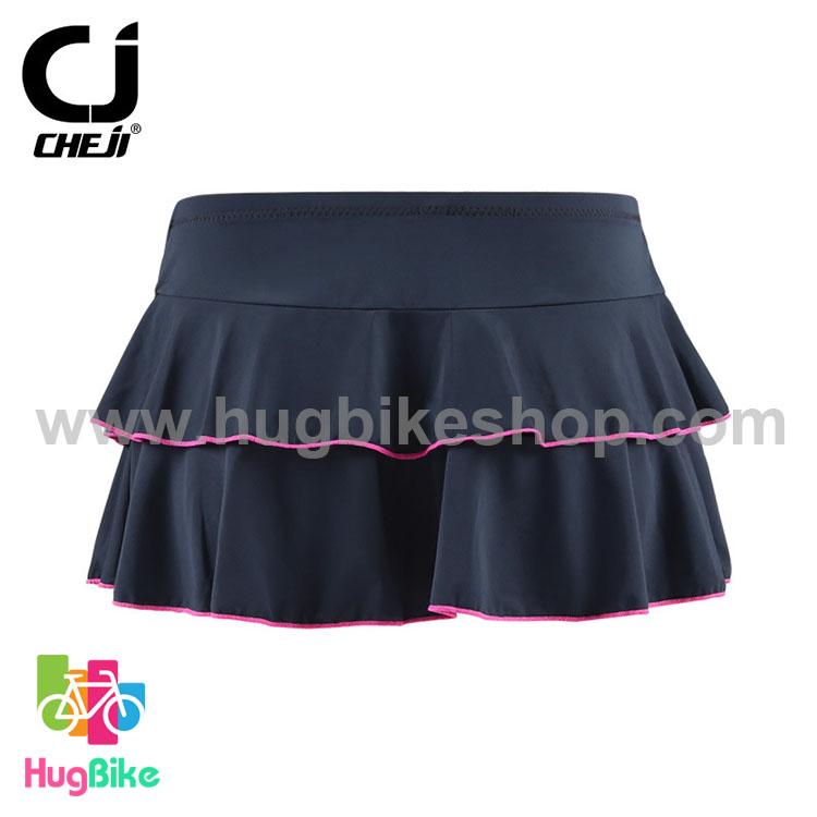 กระโปรงจักรยานสำหรับผู้หญิง CheJi (เฉพาะกระโปรง) สีดำ ขอบสีชมพู สั่งจอง (Pre-order)