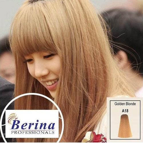 เบอริน่า ครีมย้อมผม A18 สีบลอนด์ประกายทอง Golden Blonde 60 g.
