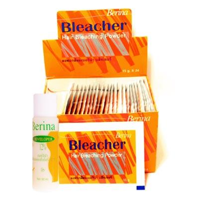ผงฟอกสีผม เบอริน่า บลีชเชอร์(สีทอง) + ดีเวลลอปเปอร์ 12 % แบบกล่อง ขนาด (15 กรัม + ดีเวลลอปเปอร์ 60 มล.x24)