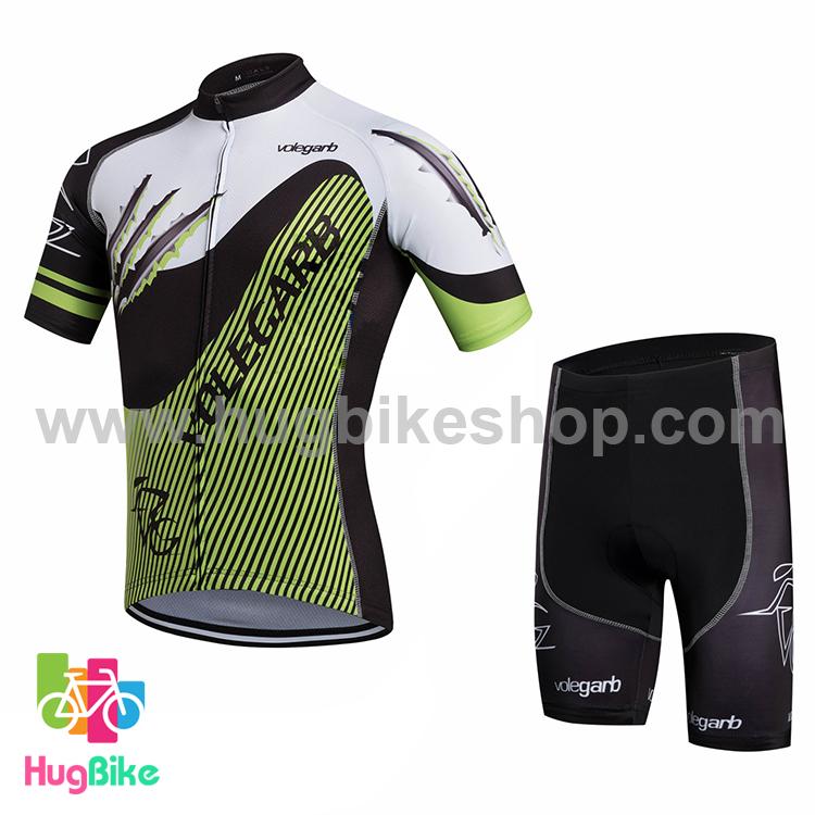 ชุดจักรยานแขนสั้น Volegarb 16 (07) สีดำขาวลายเขียว